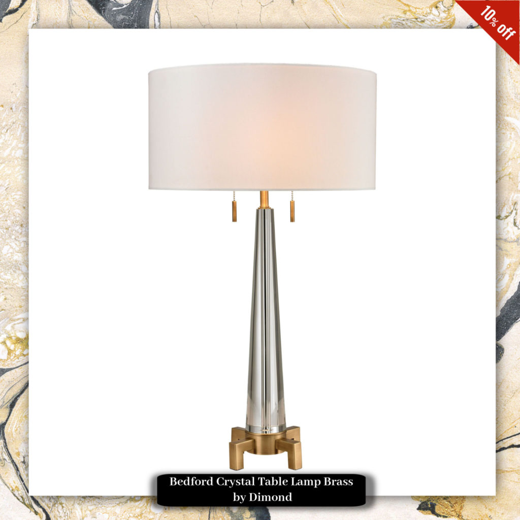 Bedford Crystal Table Lamp Brass by Dimond