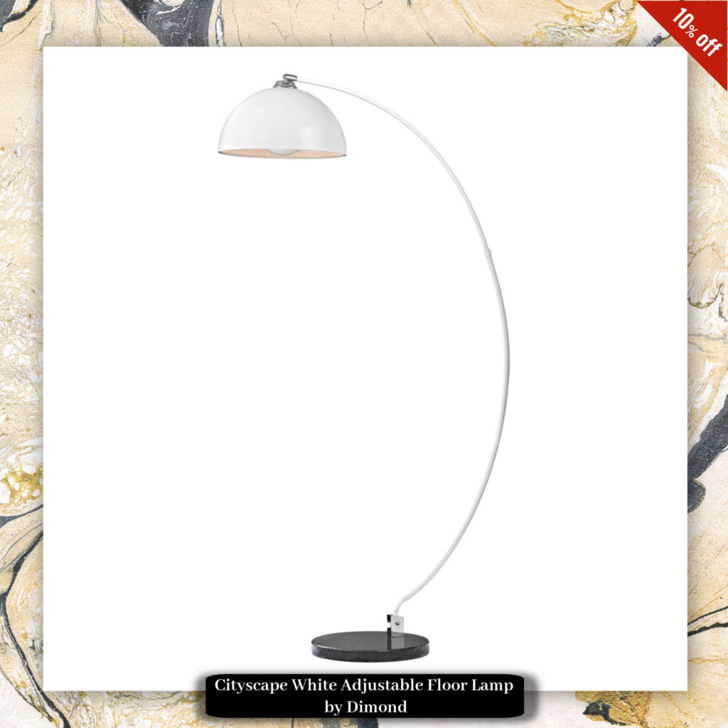Cityscape White Adjustable Floor Lamp by Dimond