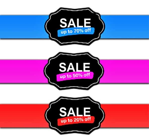 Signs saying - Sale up to 70% off, Sale up to 50% off, Sale up to 20% off